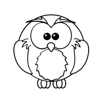 Owl Cartoon Black Outline design by ironydesigns, Animals ...