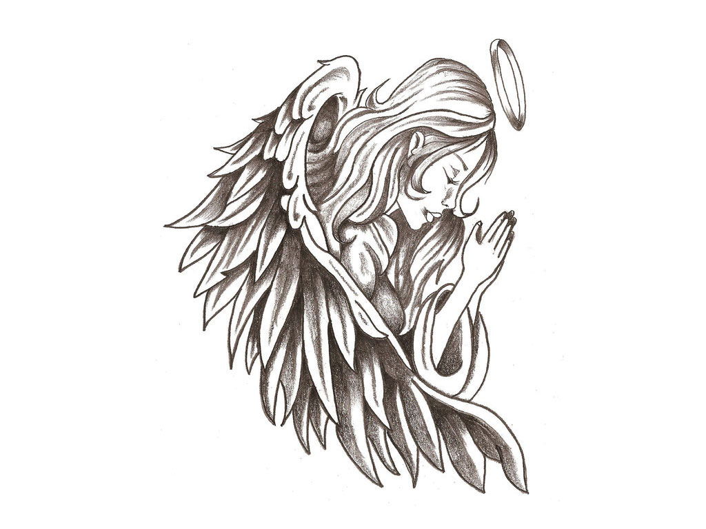 Angel Kneeling Tattoo - ClipArt Best