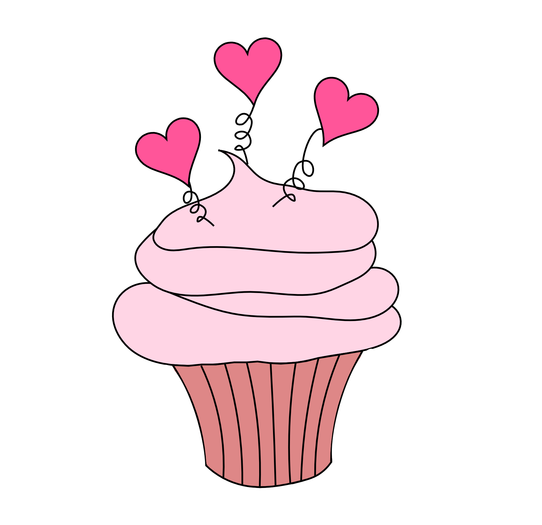 Free Valentine's Day Digital Stamp - Cupcake with Hearts Free ...