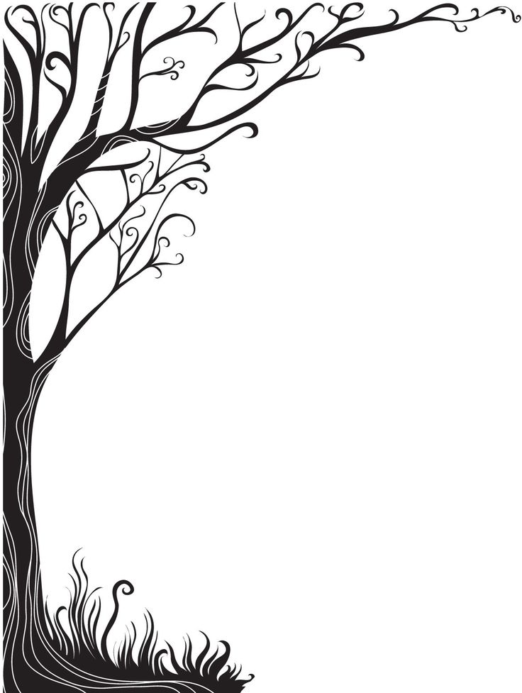 Tree borders clipart best - Design art black and white ...