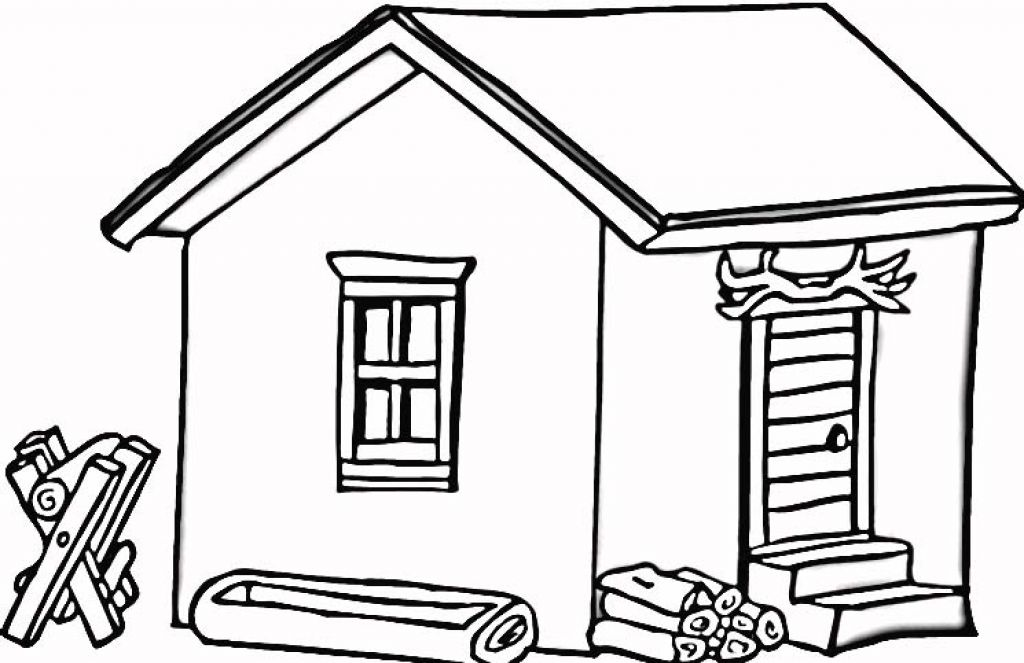 Coloring Pages Of Log Cabin In Wood