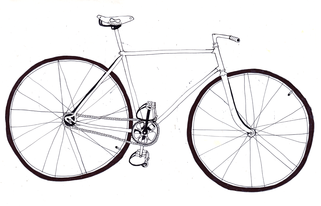 Line Drawing Bicycle : Bicycle line drawing clipart best