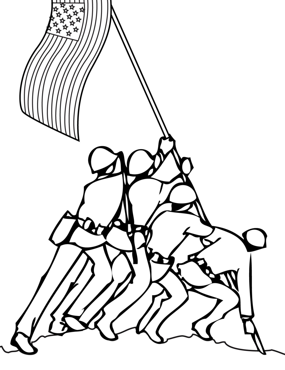 Soldiers putting flag up drawing clipart