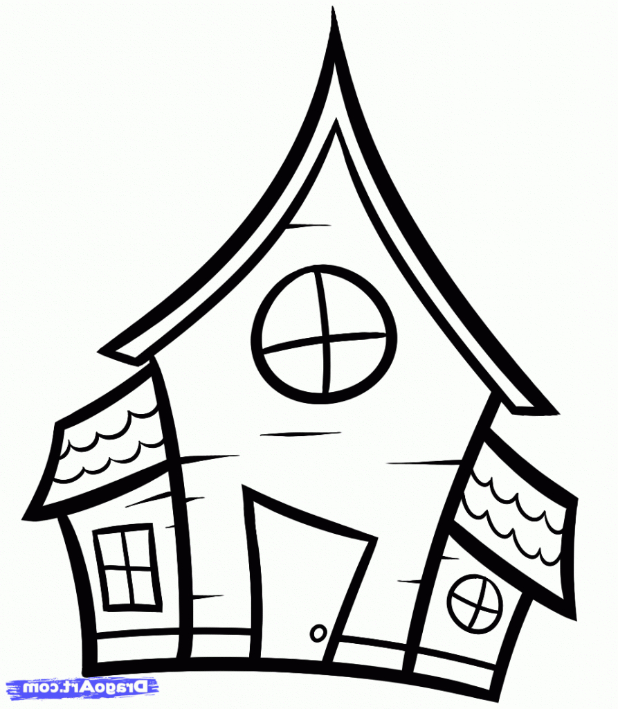 Simple house drawing for kids clipart best Haunted house drawing ideas