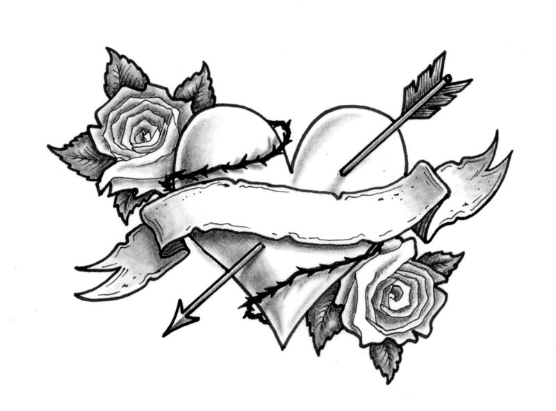 Heart And Rose Coloring Pages #4