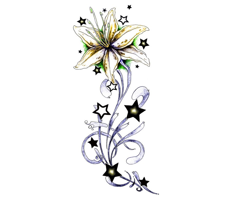 Stars And Flowers Tattoo Designs