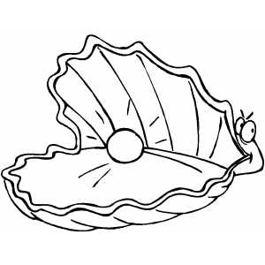 Clam With Pearl Coloring Page