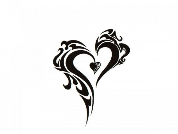 Black And White Heart Tattoo Designs Black And White Heart And