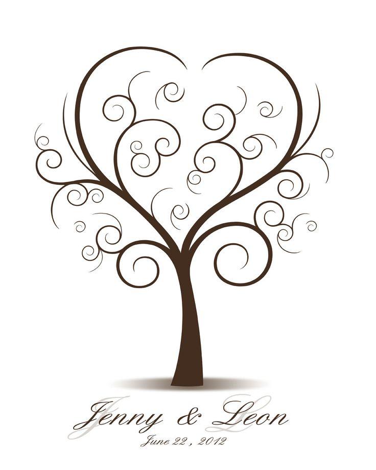 Wedding Tree Watercolor Clipart: Wedding Tree Template