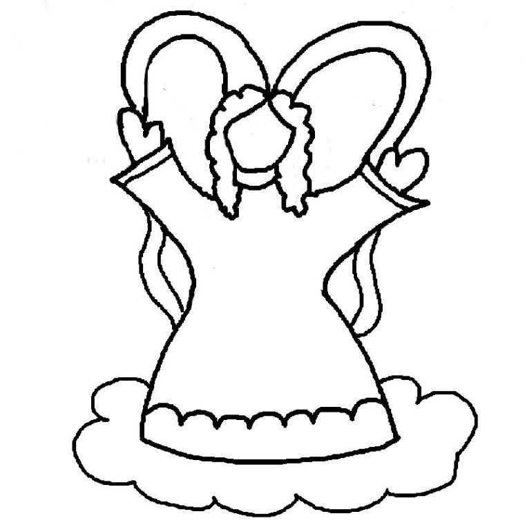 Angel cut out template clipart best for Angel coloring pages print out