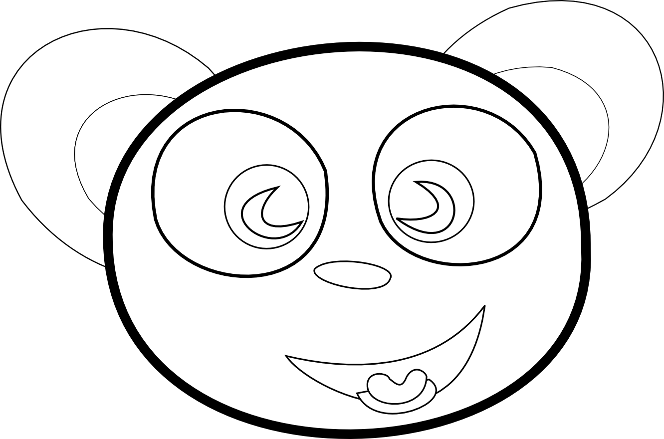 Line Drawing Of Bear Face : Coloring pictures of happy faces clipart best