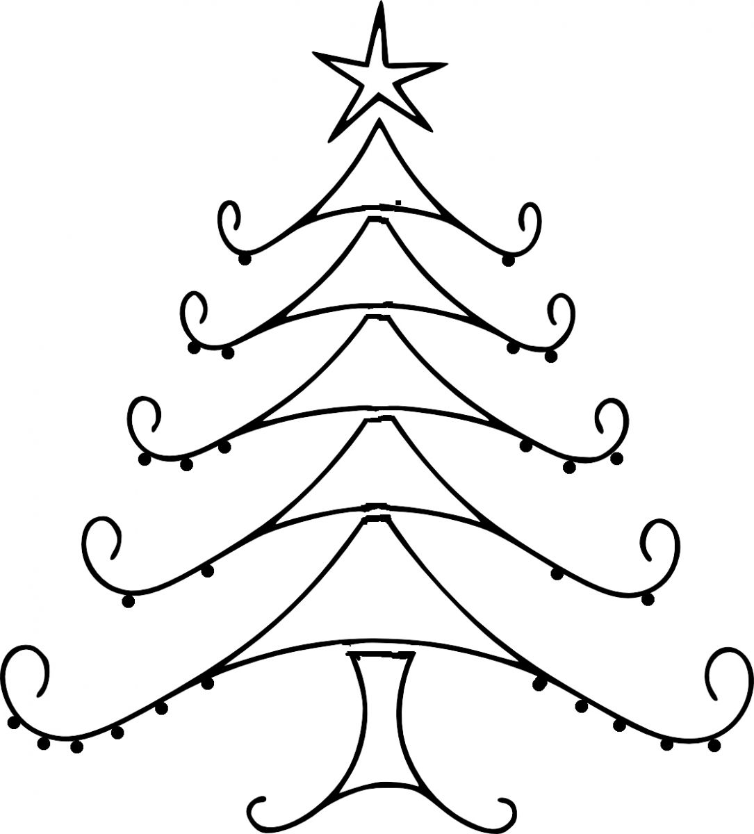 Line Drawing Of Tree : Christmas tree line drawing clipart best