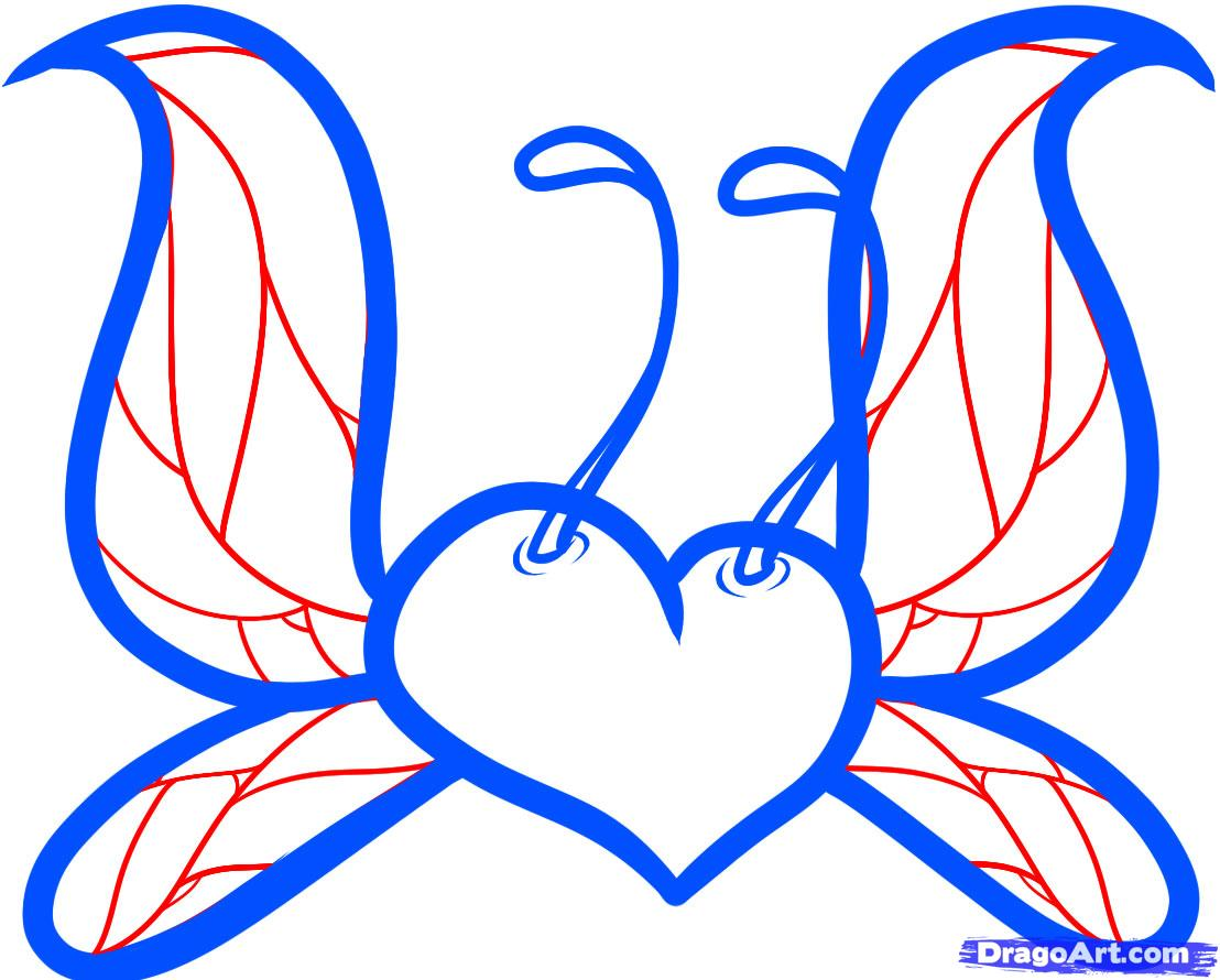 Heart With Angel Wings Drawings - ClipArt Best