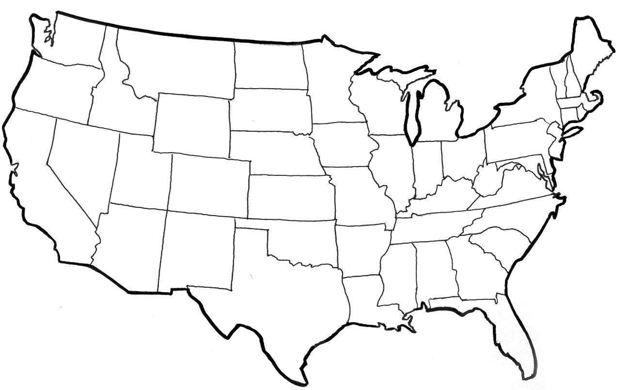 Line Drawing United States Map : United states vector outline clipart best