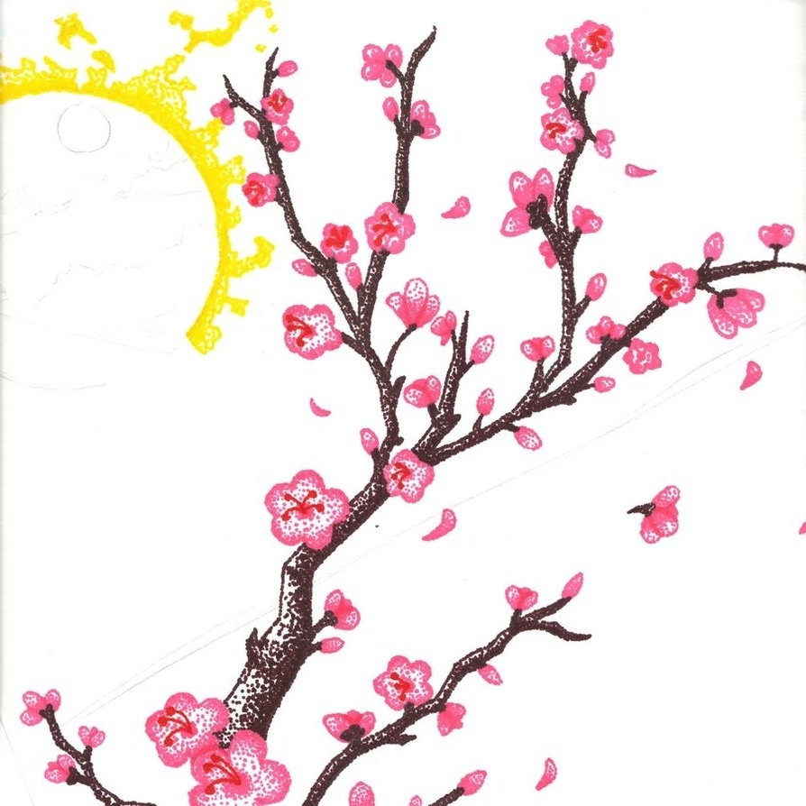 Blossom Tree Drawing: Cartoon Cherry Blossom Tree