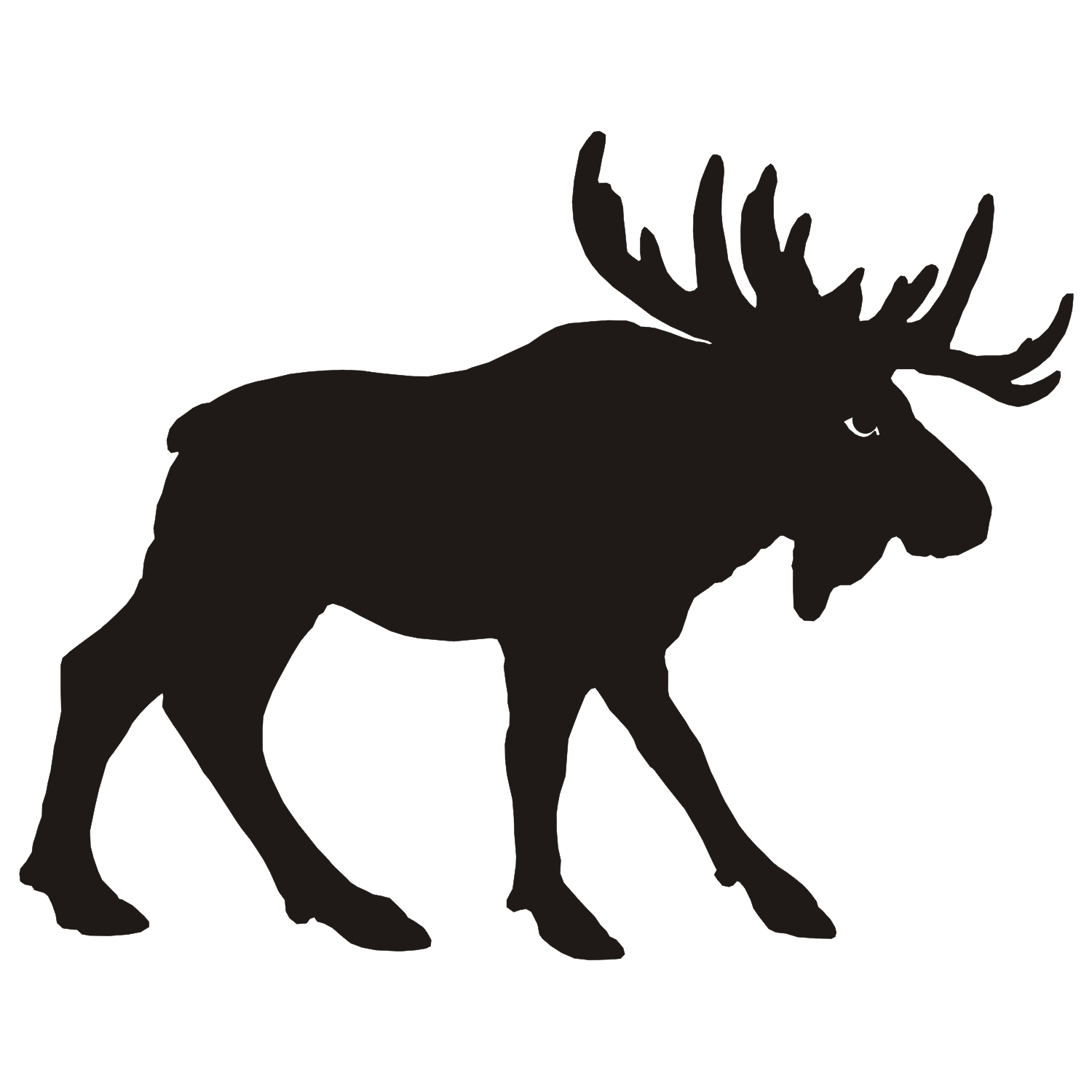 Moose Vector Silhouette Isolated On White Stock Vector 319684451 ...