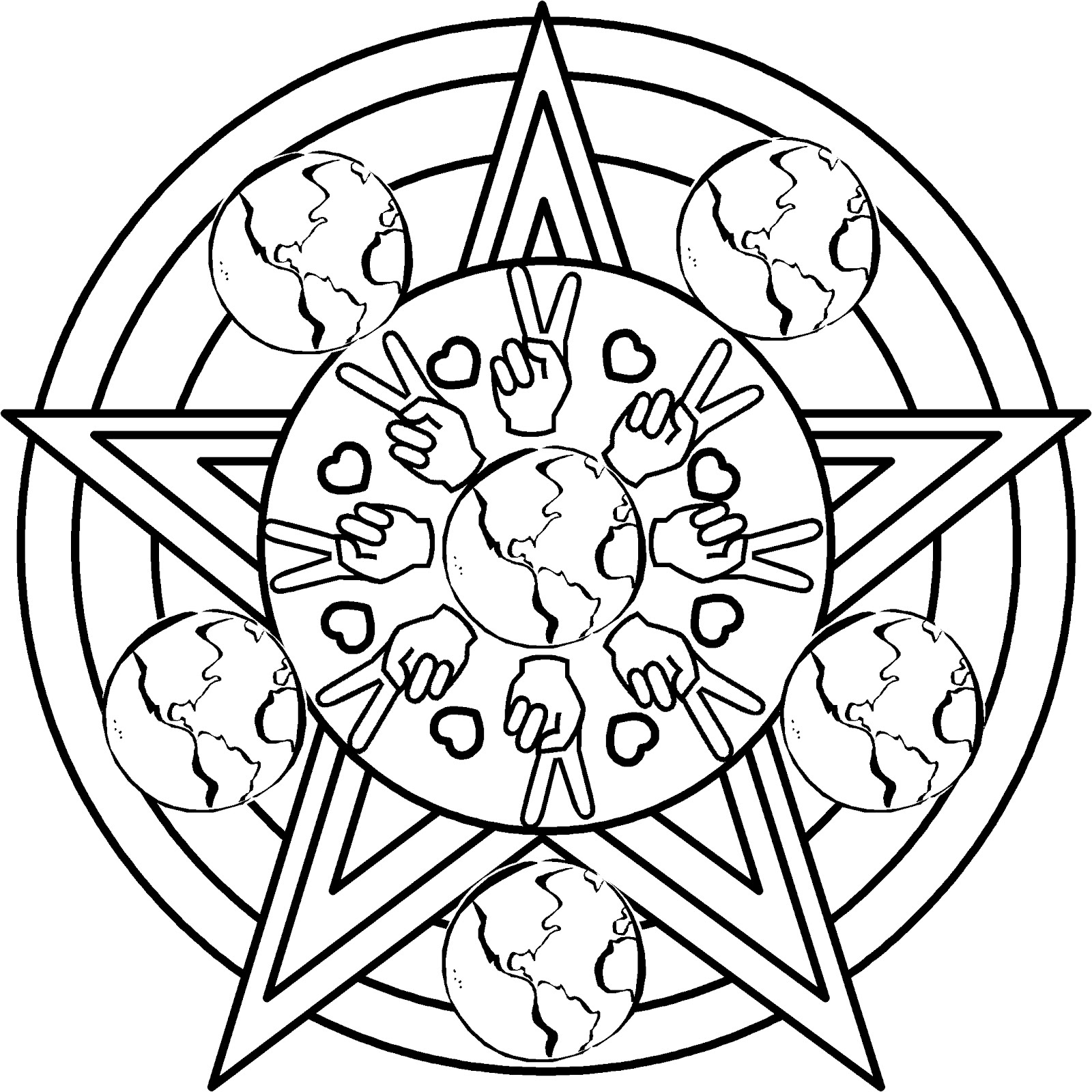 peace on earth coloring pages - mandala clip art clipart best