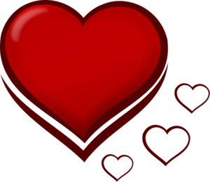 Red Stylised Heart with Smaller Hearts - vector Clip Art
