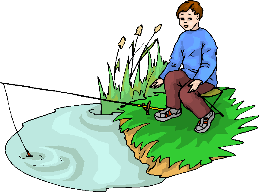 Kids Fishing Clipart -...