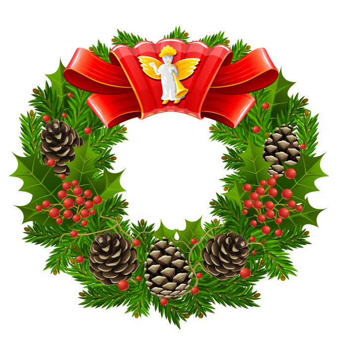 Christmas wreath cool texture vector free vector clipart for Cool christmas art