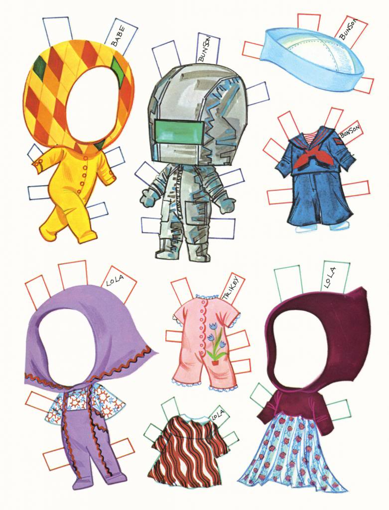 Маленькие куклы для вырезания из бумаги