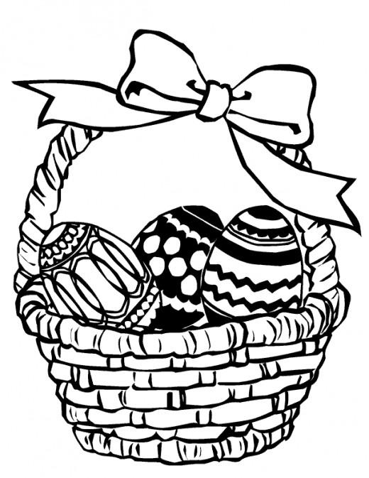 Easter Egg Basket Coloring Pages Clipart Best