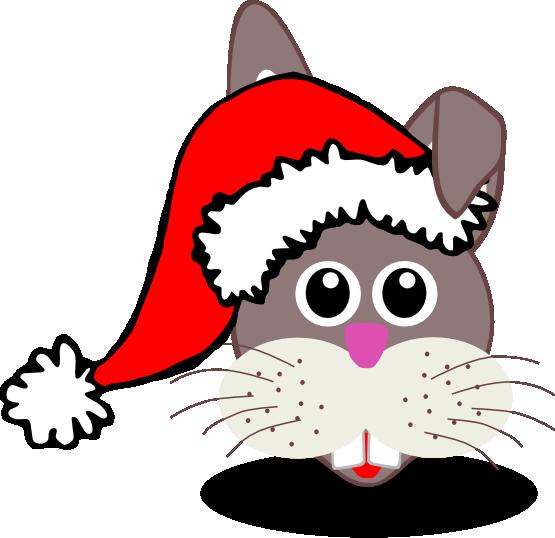 Clip Art: Rabbit 1 face with Santa Hat Christmas ... - ClipArt Best ...