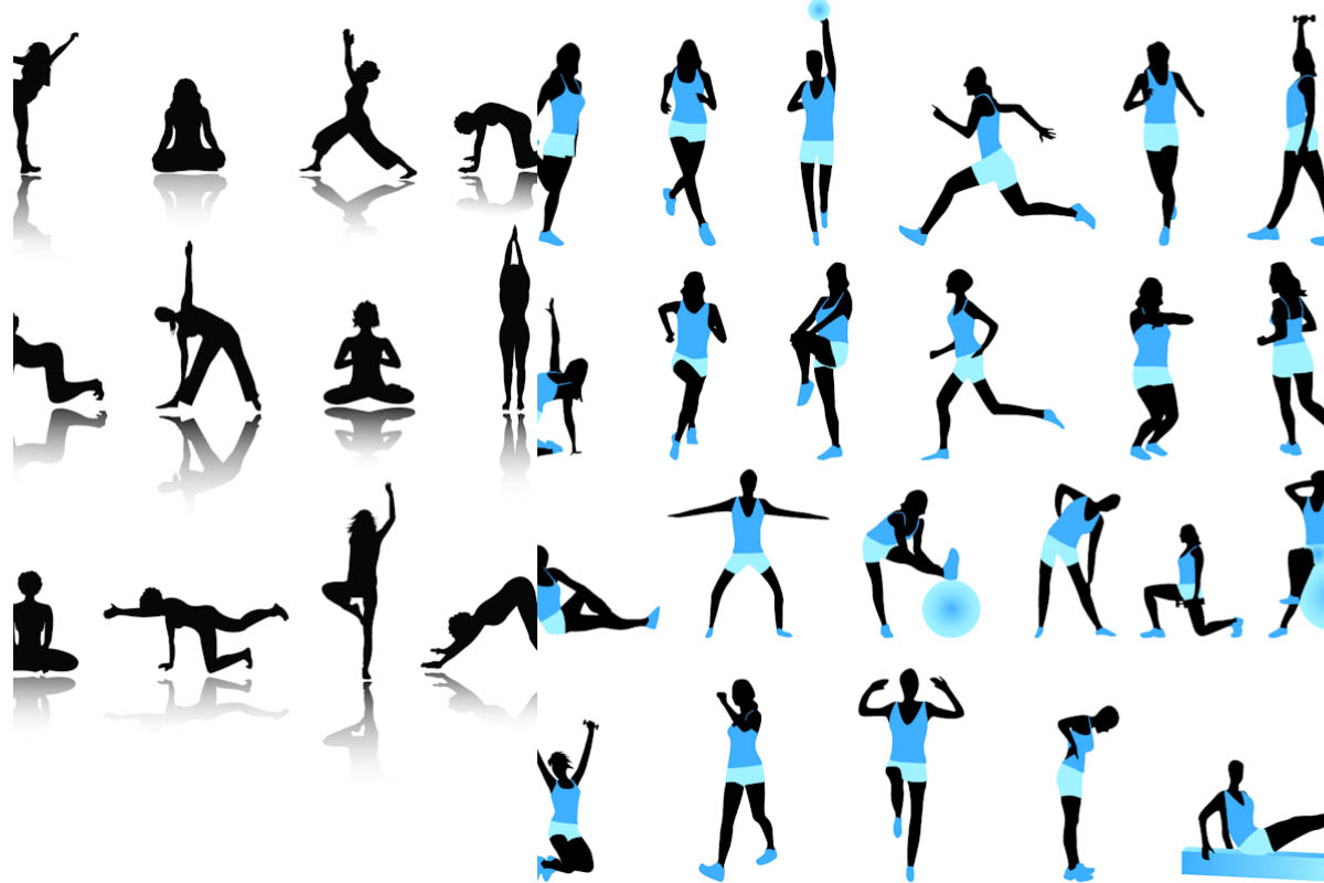 Fitness silhouette vector | Vector Graphics & Vector ...