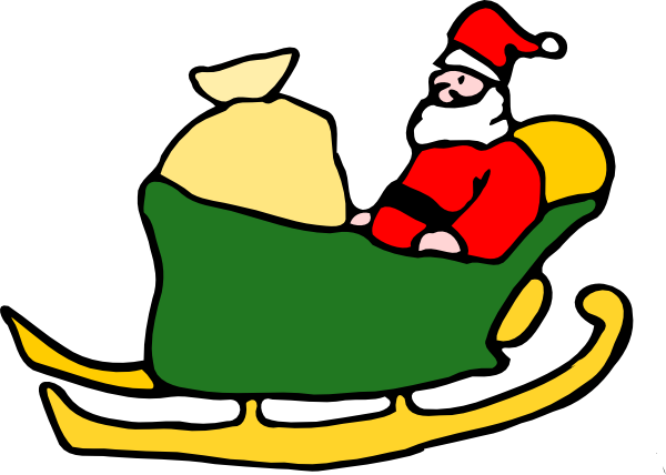 Fen Santa In His Sleigh clip art Free Vector