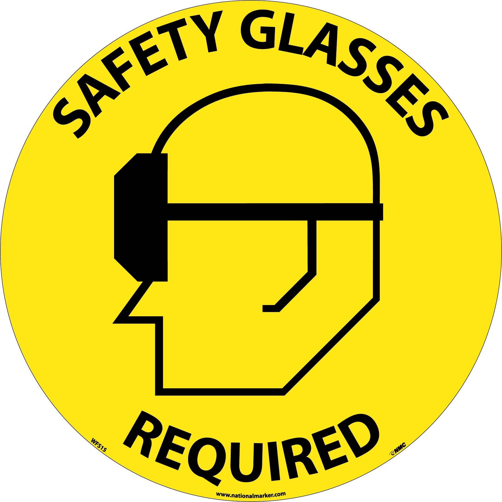 nmc wfs15 walk on floor sign with graphic quotsafety glasses