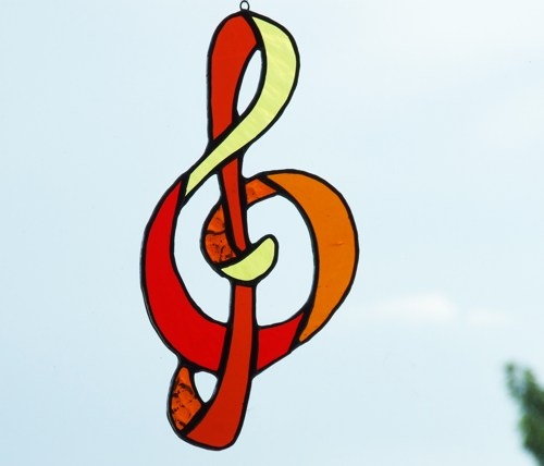 Stained Glass Treble Clef or G Clef Music Symbol Suncatcher ...