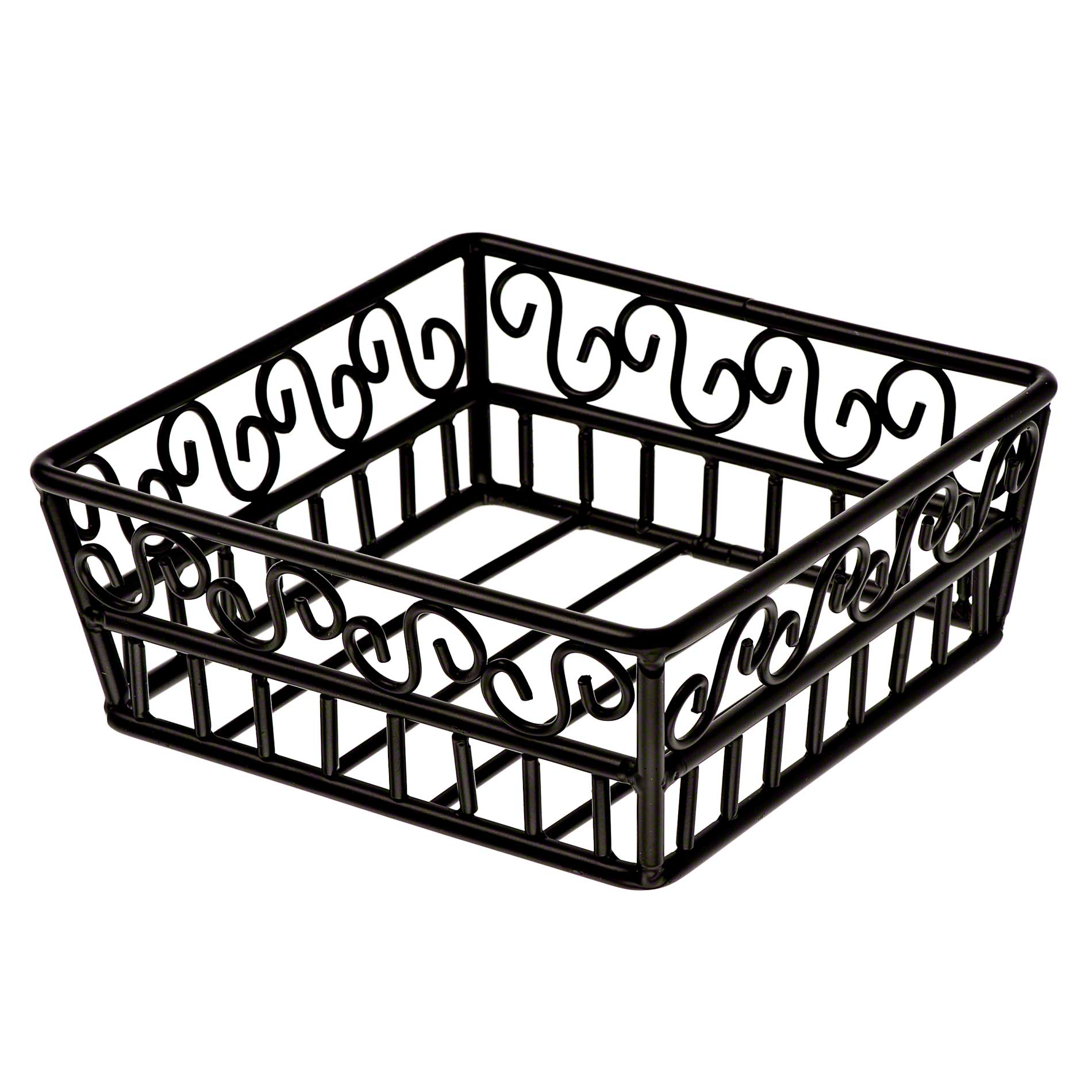 American Metalcraft - SBS70 Wrought Iron Square Basket w/Scroll Design