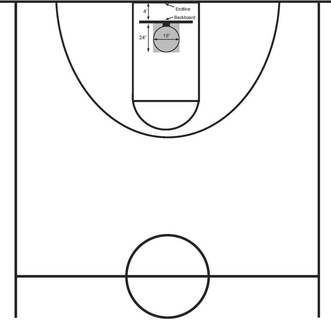 Printable basketball court clipart best for Half basketball court diagram