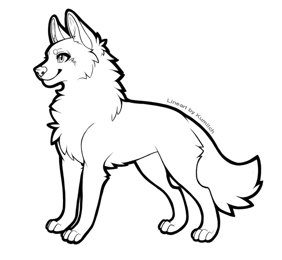 Simple Wolf Lineart : Free wolf lineart clipart best