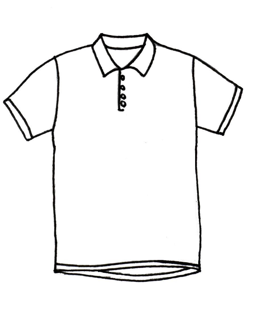 T Shirt Design Line Art : Picture of a polo shirt clipart best
