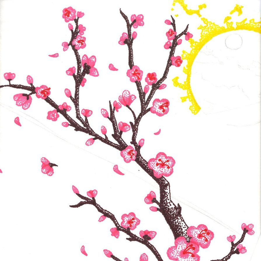 Cherry Blossom Branch Drawing - ClipArt Best