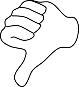 Thumbs down clipart black and white