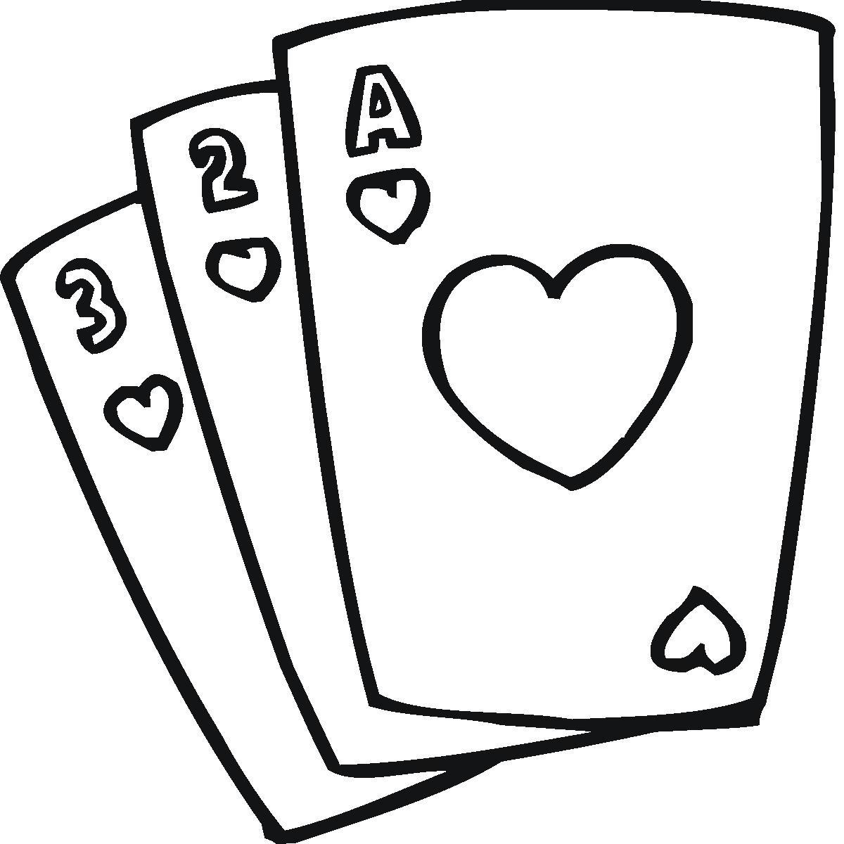 Playing Cards Coloring Pages Clipart Best
