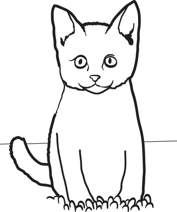 how to draw a cartoon cat sitting