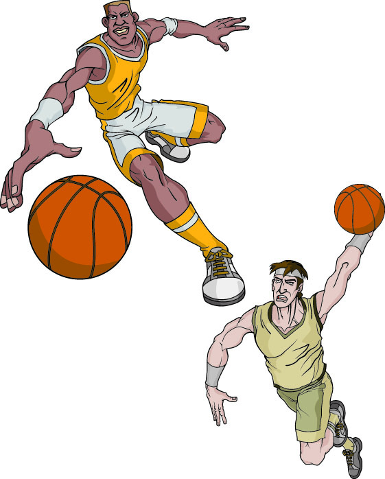 Cartoon Characters Playing Basketball : Basketball cartoon characters vector free clipart