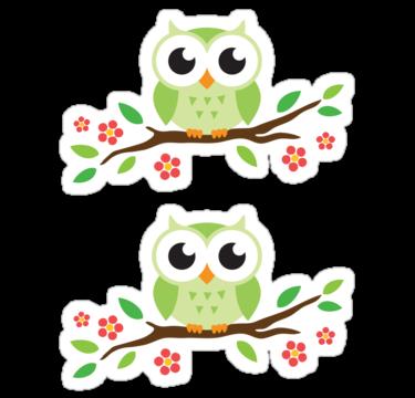 Cute cartoon owls on a branch - photo#5