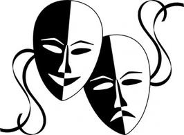 Black And White Drama Masks - ClipArt Best