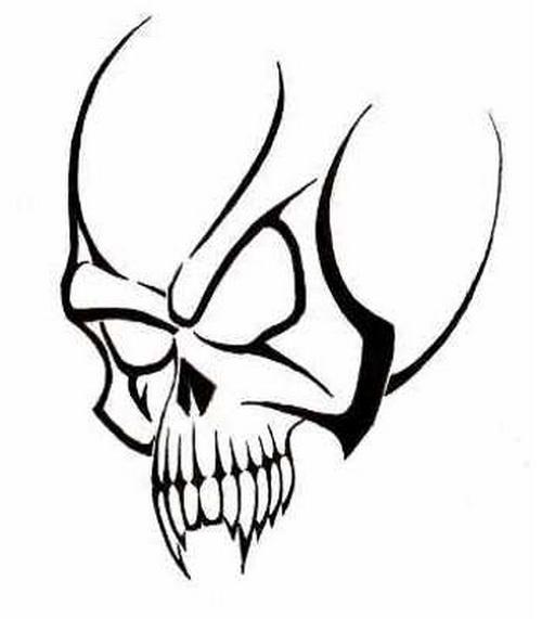 Skull Line Drawing Tattoo : Skull with flames tattoo clipart best