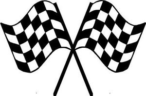 CHECKERED FLAGS TRAILER Decal Crossed flag Race Car Decals sticker ...
