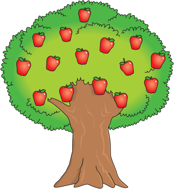 Collection of cartoon apple tree vectors. Various trees bearing ...