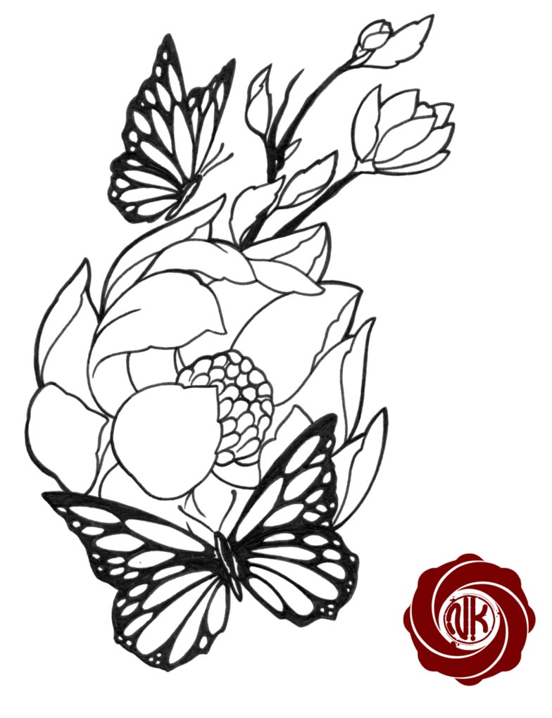 Flower With Butterfly Drawings Clipart Best