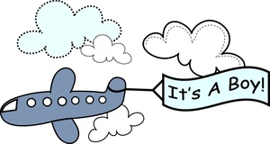 Boy Clipart Image - Its a Boy Sign Trailing an Airplane