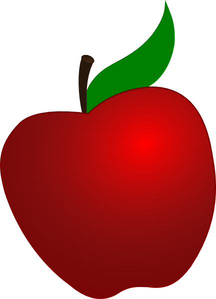 Free Red Apple Clipart Red Apple With Leaf Clip Art