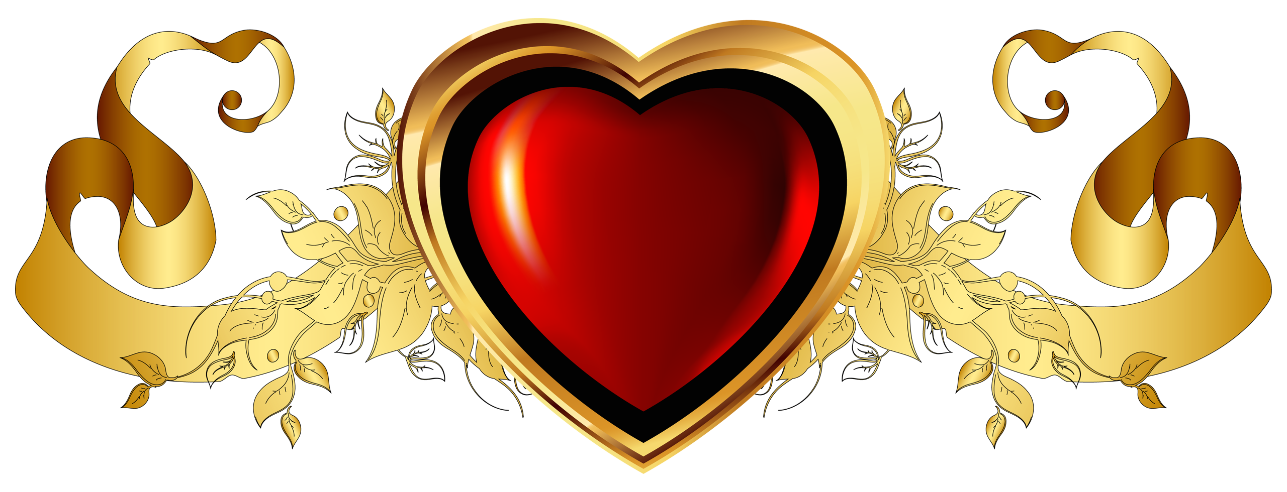 image large red heart with gold banner element clipart