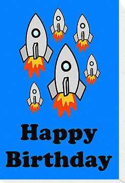 Exodus by Rocket Ships Happy Birthday Greeting Card by Chillee ...